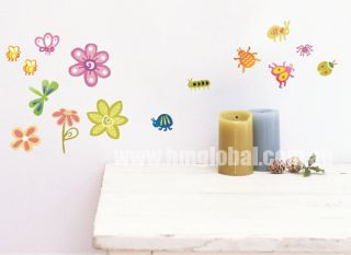 Cute Insects Bugs Flowers Kids Removable Wall Sticker for Kids Room or