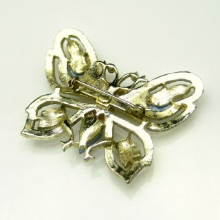 Vintage Large Art Glass Rhinestones Figural Butterfly Brooch