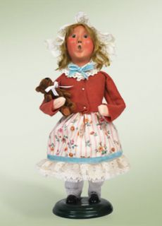 Byers Choice Caroler Spring 2010 Tea Girl w Teddy Bear