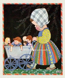Chloe Preston Girl w Baby Carriage and Dolls Repro Greeting Card