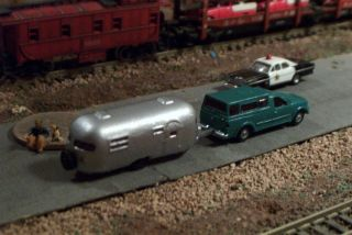 Pickup Truck with Cap and Camping Trailer N Scale Vehicle