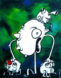 Frogs A Lizard Original Abstract Art Painting Graffiti Canvas w