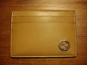 Gucci Mens Classic Tan Leather Card Case Made in Italy