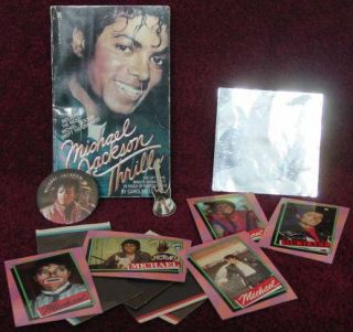 Pop Star Michael Jackson 1984 Thriller Book Topps Cards Pins Sticker