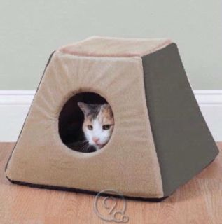 Heated Cat Bed Mocha Semi Enclosed w Dual Thermostats Plush Fleece