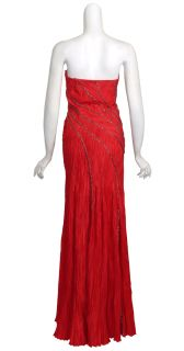 Carlos Miele Curvaceous Flowing Lines Red Crinkle Silk Long Gown Dress