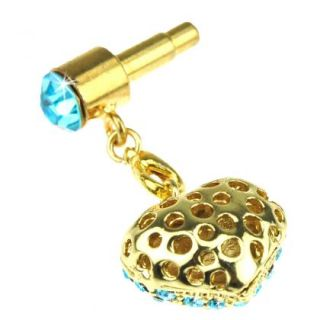 Heart Bling Apple iPhone Anti Dust Plug Cell Phone  Charm Strap