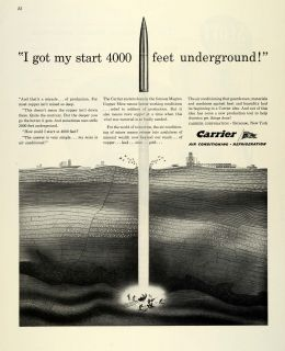1944 Ad Carrier Air Conditioning Refrigeration WWII War Production