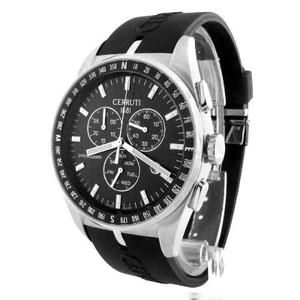 CERRUTI MENS SWISS VELIERO CHRONOGRAPH SS WATCH NEW BLACK RUBBER