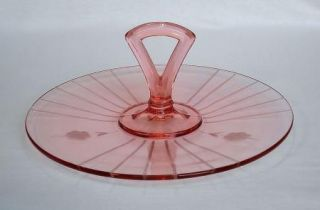 Pink Depression Glass Center Handle Round Sandwich Tray