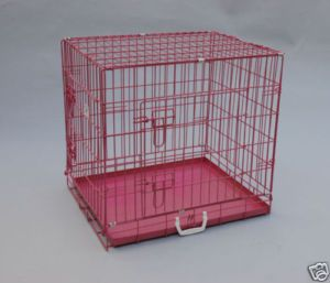 24 x 20 x 23 Pink Pet Folding Dog Cat Crate Cage w Metal Pan