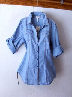 New Chambray Light Blue Denim Gardening Blouse Work Shirt Top 16 18 14
