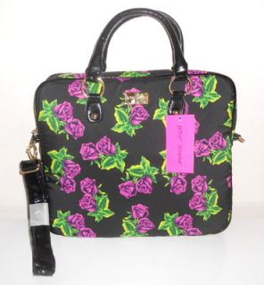 New Betsey Johnson Tin Can Rose 15 Laptop Padded Case Messenger