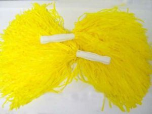 Pair Cheerleader Pom Poms School Cheerleading Yellow