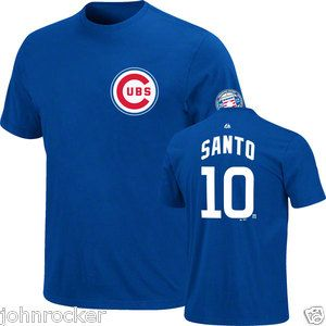 RON SANTO #10 CHICAGO CUBS MLB HALL OF FAME NAME & # JERSEY T SHIRT Sz