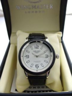 Mens Gents Wingmaster Anti Allergic Silver Face Sports Watch Black