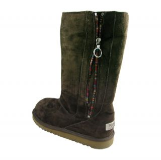 UGG Australia Kids Girls Tall Zipper Chocolate Boots Shoes US 3
