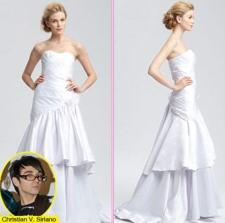 New Christian Siriano Strapless Satin Tiered Bridal Gown Size 4 $2375