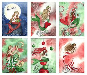 Christmas Mermaids Blank Note Cards Mix 3 Art Grimshaw