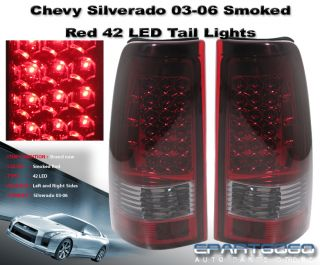 2003 2004 2005 2006 Chevy Silverado Sierra Smoked Red LED Tail Lights