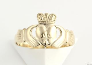 Irish Claddagh Ring   14k Solid Yellow Gold Heart Crown Hands Wedding