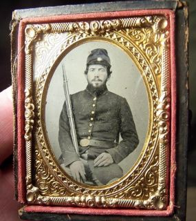 Civil War Ambrotype Idd Ohio Soldier Armed w Rifle Discharge