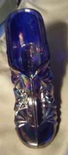 Blue Carnival Glass Shoe Signed J St Clair