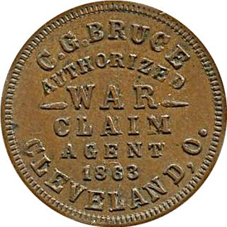 Cleveland Ohio Civil War Token Pension Back Pay Agent 100 Bounty
