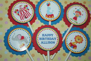 12 Carnival Circus Theme Kids Birthday Cupcake Toppers