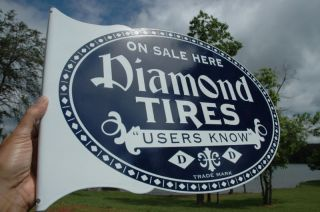 OLD STYLE DIAMOND TIRE CAR & TRUCK VINTAGE TYPE FLANGE SIGN REAL