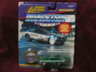 Lightning Dragsters Model Die cast Metal 58 Christine Green Car w coin