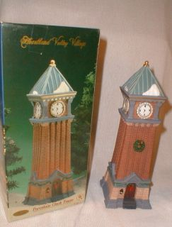 Valley Village Porcelain Lighted Christmas Clock Tower Limited Edition