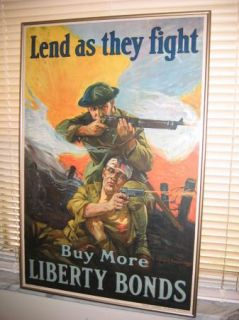 WW1 POSTER   MACHINE GUN & FIGHT   WAR   USMC MARINES   ARMY   NAVY