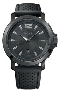 BOSS Black Round Rubber Strap Watch