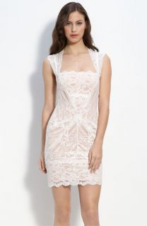 Nicole Miller Cutout Back Lace Sheath Dress