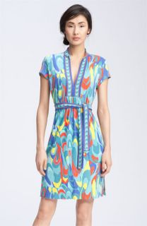 Trina Turk Print Mandarin Collar Dress