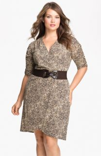 Eliza J Belted Faux Wrap Dress (Plus)