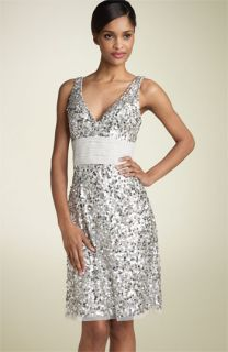 Adrianna Papell Sequin Sheath Dress with Chiffon Waist