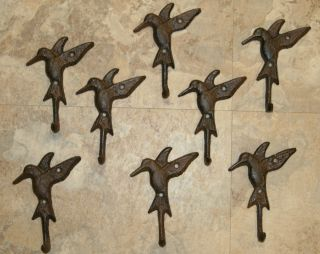 CAST IRON HUMMING BIRD HOOKS GARDEN CLOSET ORGANIZATION BATH POOL