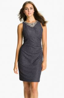 Eliza J Embellished Neck Glitter Mesh Sheath Dress