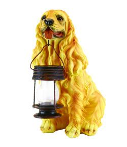 Cocker Spaniel Dog With Lantern Solar Light
