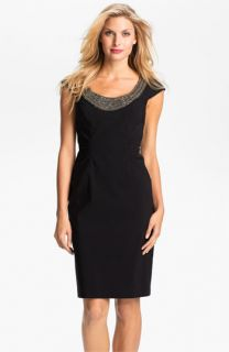 Adrianna Papell Beaded Neck Ruched Sheath Dress