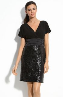 Kay Unger Jersey & Sequin Sheath Dress (Petite)