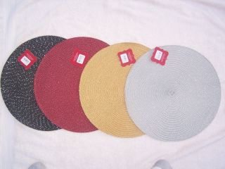 Round Metalic Placemat Gold Red Black or Silver Set of 6