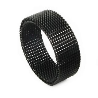 Matching Comfort Fit Black 316L Stainless Steel Mesh Ring Charm