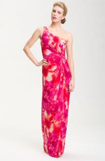 Adrianna Papell One Shoulder Floral Print Gown