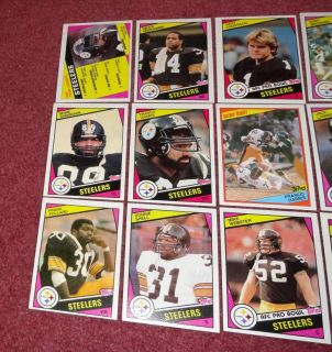 1984 Topps Pittsburgh Steelers Team Set 15 Cards