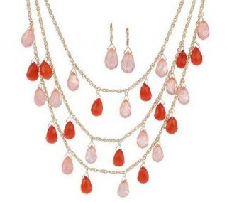 Isaac Mizrahi Live Briolette Drop Necklace & Earring Set —
