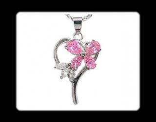 Fashion Jewelry Lady Gift Pink Sapphire White Gold GP Pendant Necklace