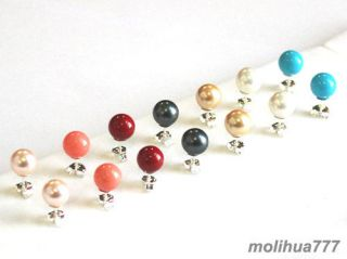 Yellow Shell Pearl Red Coral Turquoise 925 Silver Stud Earrings